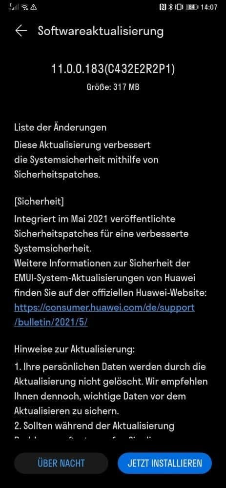 Huawei Mate Xs May 2021 update