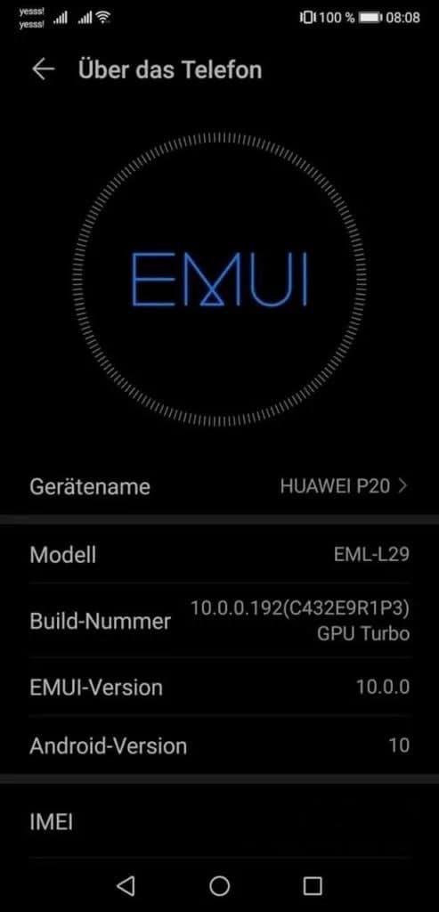 Huawei P20 July security update