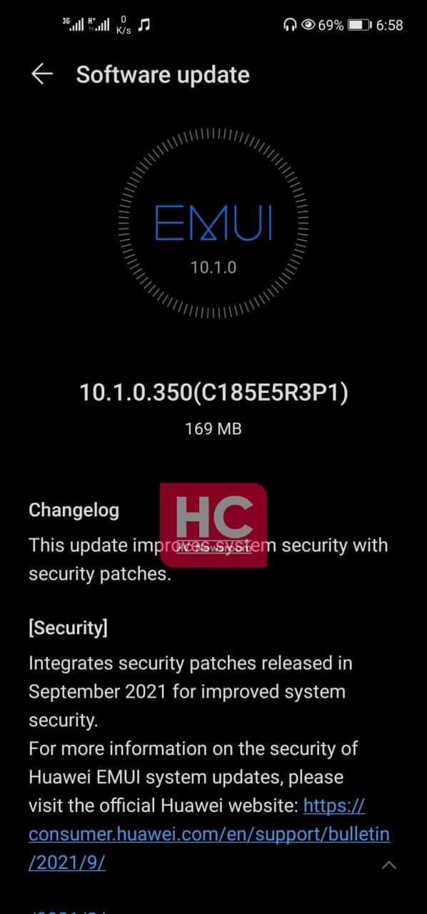 Huawei Nova 7i September 2021 Update