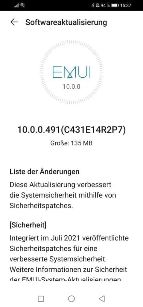 Huawei P30 Lite July Security Update